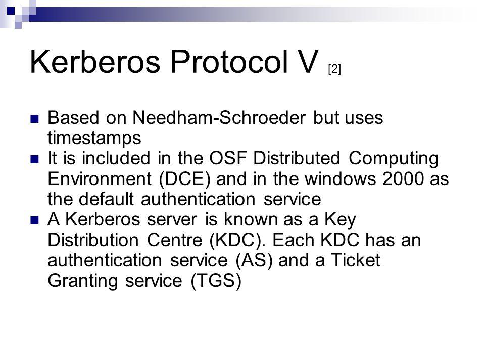 Kerberos Protocol V [2] Based on Needham-Schroeder but uses timestamps